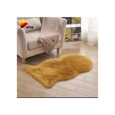 Orange Faux Fur Bedside Rug