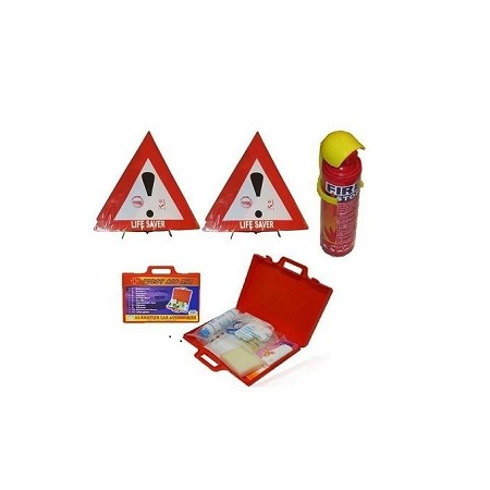 Generic Warning Triangles Sign Life Saver Pair Reflector,Fire Extinguisher & First Aid Kit Road Safety Emergency & Compliance Kit Set - Multicolored