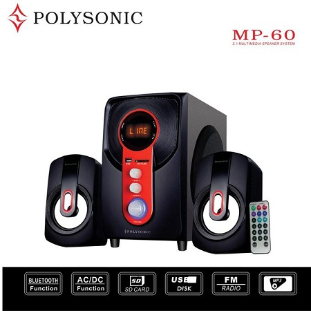 Polysonic MP-60 Multimedia 2.1 Subwoofer With Bluetooth - Black