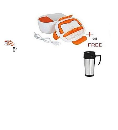 Portable Electric Lunch Box & Food Warmer + Free Mug multicolor 2pcs