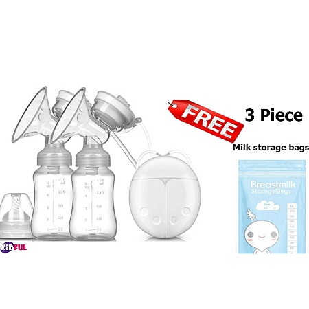 Kidful Electric Breast Pump Double, Portable, Fast and Confortable Free From Pain With 150ML Milk botle + 3 Piece Milk Storage Bags