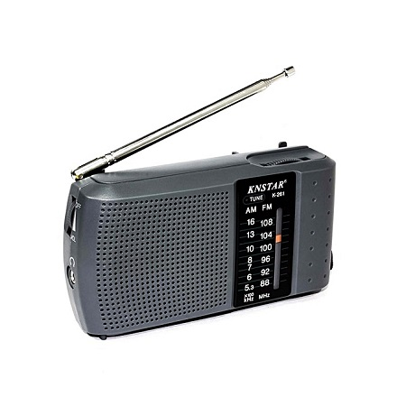 AM/FM Portable Pocket Radio Receiver Hand Strap For Easy Carrying - Grey