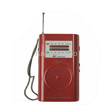 AM/FM Portable Pocket Radio Receiver Hand Strap For Easy Carrying - Red