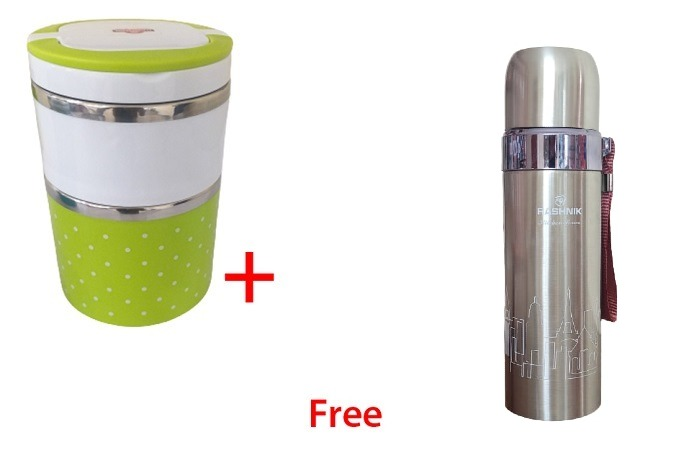 Buy Rashnik 2 Layer Lunch box and Get 1 Flask- Random color for lunchbox
