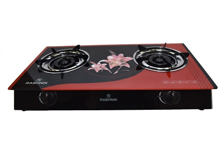Rashnik RN- 1511 2 Burner Glass Table Top Gas Cooker Glass Top- Black and Red