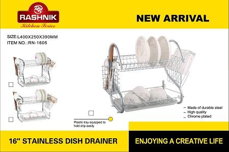 Rashnik RN-1605 2 Tier Stainless Steel Dish Rack- 16 inch