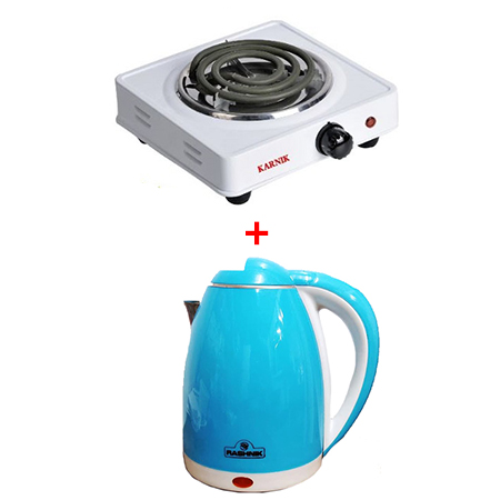 Rashnik Single Coil Electric Burner + 2.2 L Electric Kettle