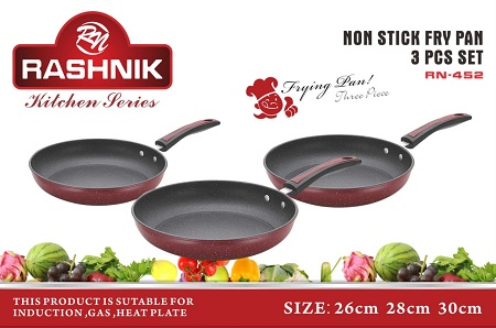 Rashnik RN-452 Non-Stick Frying Pan 3 Pieces- Maroon