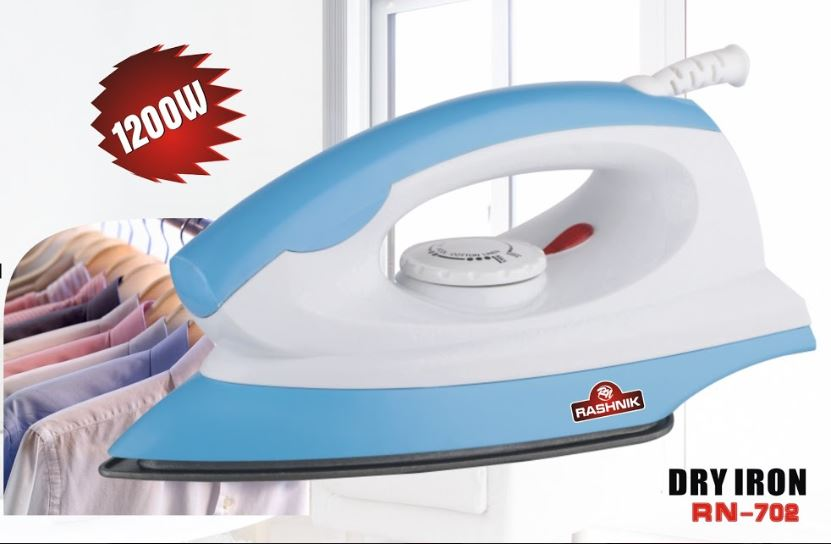 Rashnik RN-702 Non-stick Coated Dry Iron 1200W- Blue