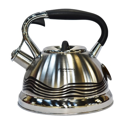 Edenberg EB-1902 3 Litres High Quality Whistling Kettle, Induction Friendly- Silver