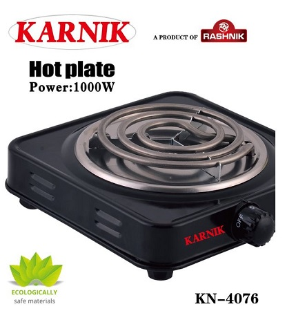 Rashnik KN-4076 Single Coil / Hot plate Electric Burner- Black