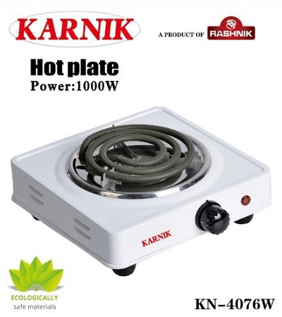 Rashnik KN-4076 Single Coil / Hot plate Electric Burner- White
