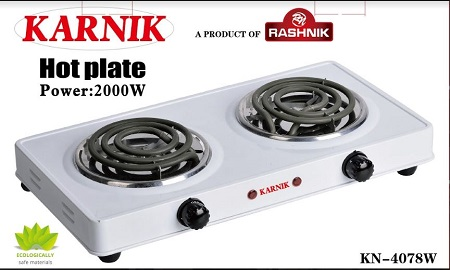 Rashnik KN-4078 Double Spiral Hot plate Electric Burner-2000Watts White