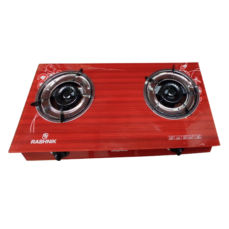 Rashnik RN- 1511 2 Burner Glass Table Top Gas Cooker Glass Top- Red
