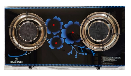 Rashnik 2 Burner Table Top Gas Cooker Glass top RN-1515 - Black