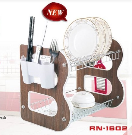 Rashnik RN-1602 18 inch 2 Layer Wooden Dish Rack/ Dish Drainer with Cutlery and Kitchen Tool Holder- Brown