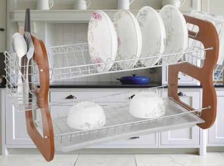 Rashnik RN-1611 22 inch 2 Tier/ Layer Wooden Dish Rack/ Dish Drainer with Utensils and Glass Holder- Brown