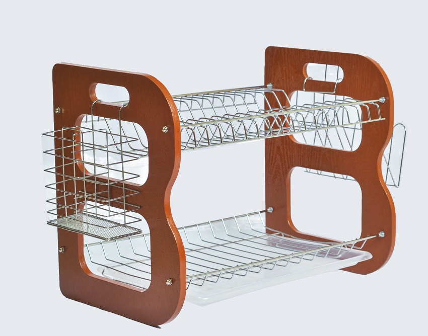 Rashnik RN-1623 18 inch 2 Tier/ Layer Wooden Dish Rack/ Dish Drainer with Utensils and Glass Holder- Brown