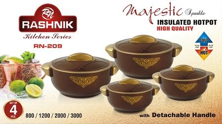 Rashnik Majestic Sparkle RN-209 High Quality Insulated HotPot- 4 Pieces