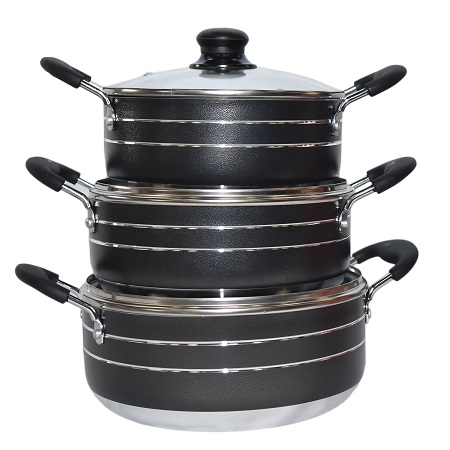 Rashnik RN-4802 Non-Stick Cooking Pots- 3 Piece Set