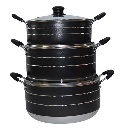 Rashnik RN-4803 Non-Stick Cooking Pots- 3 Piece Set
