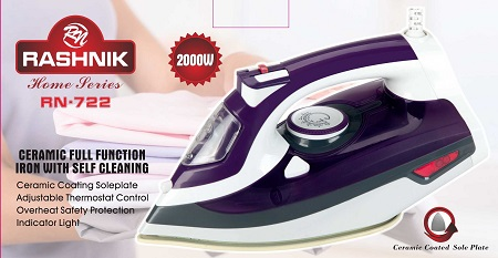 Rashnik RN-722 Ceramic Full Function Iron with Self Cleaning- 2000W
