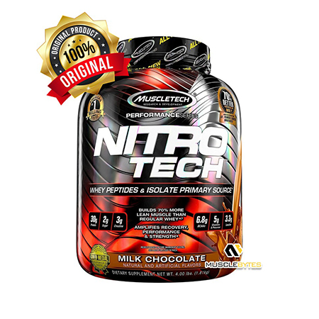 NitroTech Protein Powder Plus Creatine Monohydrate Muscle Builder, 100% Whey Protein with Whey Isolate, Milk Chocolate