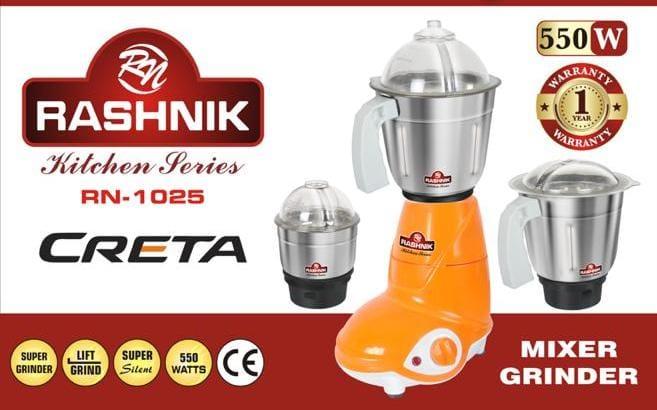 Rashnik Rn-1025 Electric Mixer And Grinder - 550 Watts