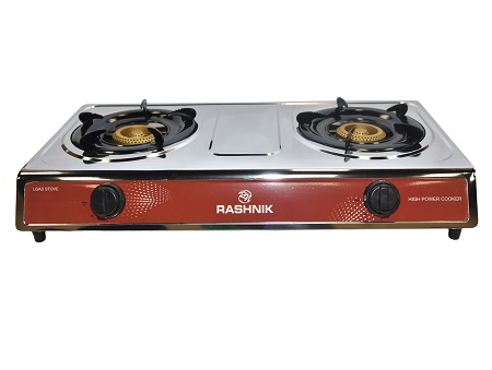 Rashnik 2 Burner Table Top Gas Cooker RN-1509 - Silver and Red