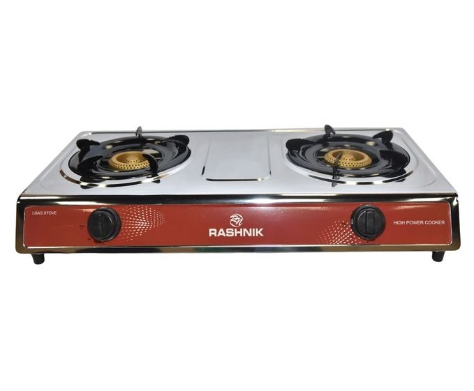 Rashnik 2 Burner Table Top Gas Cooker RN-1509 - Silver and Red