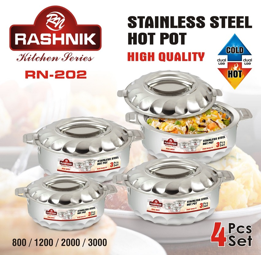 Rashnik RN-202 High Quality Stainless Insulated HotPot- 4 Pieces