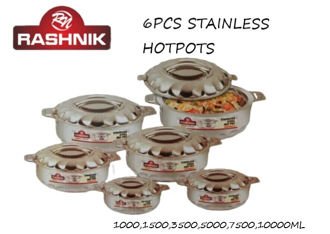 Rashnik RN-204 High Quality Stainless Insulated HotPot- 6 Pieces
