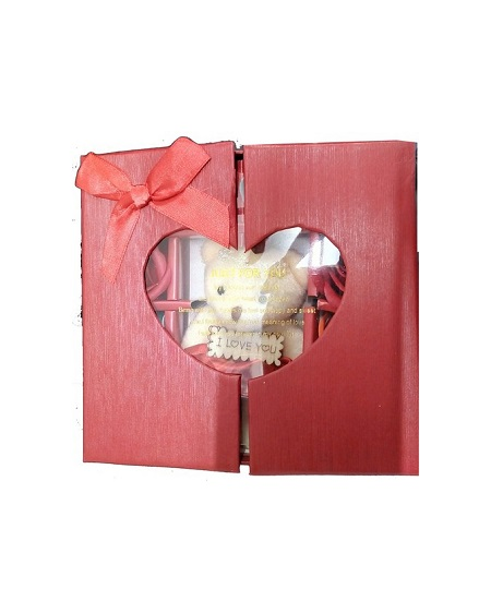 Teddy Bear With With 10 Assorted Color Roses In Hear Cut Red Window Box