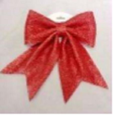 32X27Cm Glitter Foam Christmas Bow, Red