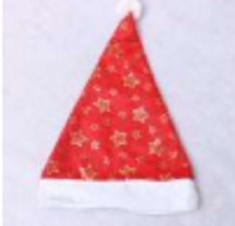 40X28Cm Christmas Nonwoven Hat, Gold Star Printed