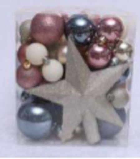 Hanging Balls Assorted Pack Of 377 With Glitter Star in Transparent Box Packing, 50pcs/Pkt