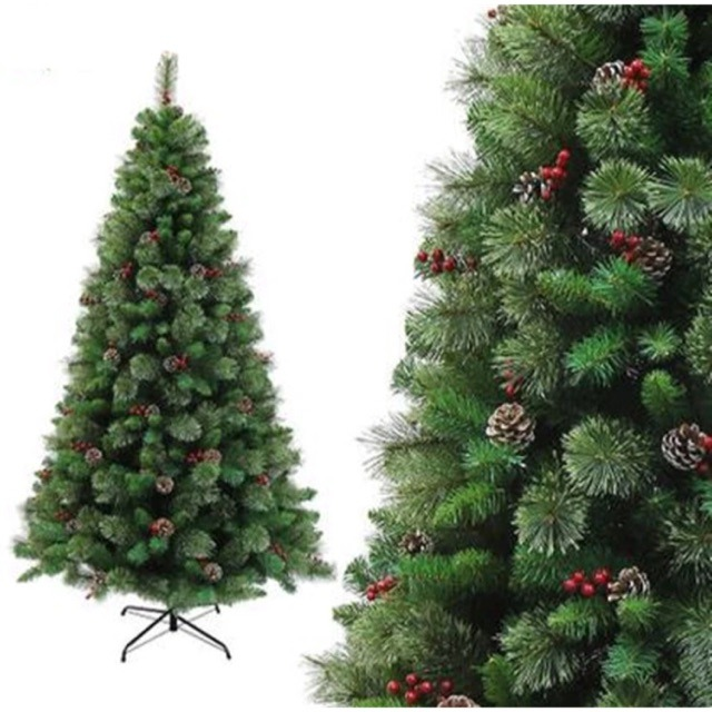 Green Pine Christmas Tree W/Metal Stand