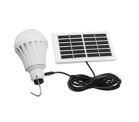 Solar Panel LED Light USB Powered Bulb Indoor Outdoor Camping Emergency Lamp- White