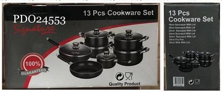 Signature 13 pcs Cookware Set - Black black different sizes