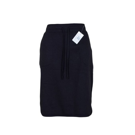 Black Sweat Skirt With Small Side Slits