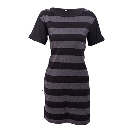 Charcoal Grey Thick Striped Dress