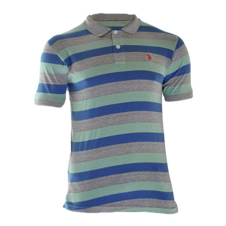 US POLO Grey And Green Striped Polo