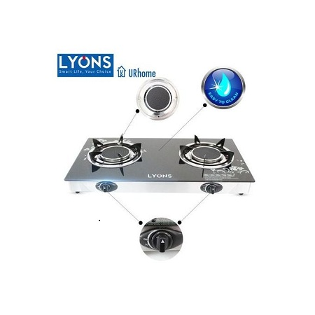 Lyons GS005, 2 Burner Glass Top And Infrared Double Burner