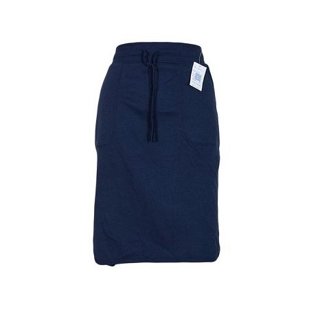 Navy Blue Sweat Skirt With Small Side Slits