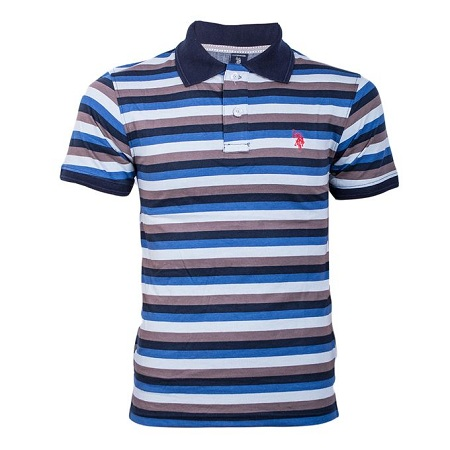 US POLO Black And Blue Light Striped Polo