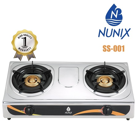 Nunix Table Top Stainless Steel Gas Double Burner