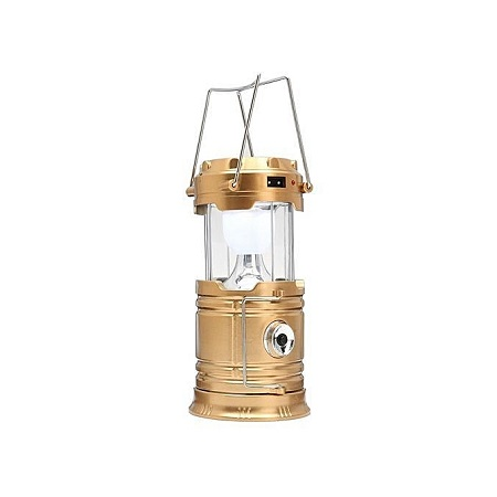 Solar Bright LED Outdoor Recharge Camping Tent Light Lantern Hiking Fishing Lamp (Gold)