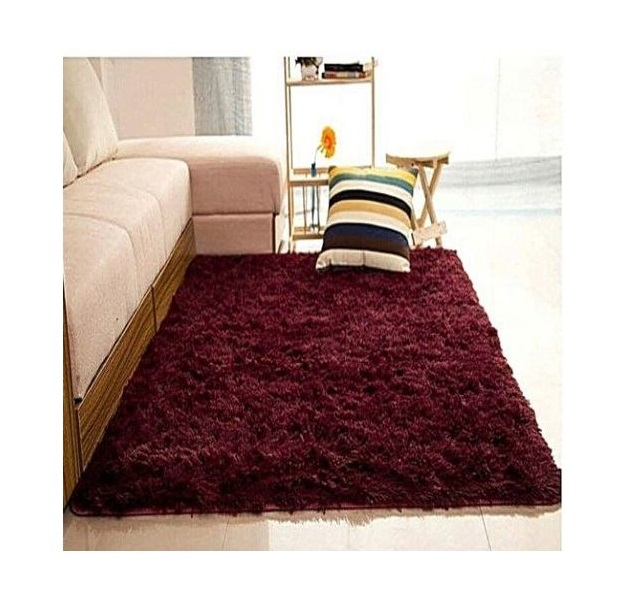 Fluffy Carpets 5 By 8 - Maroon
