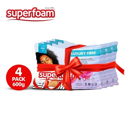 Superfoam White Fiber Pillow 600gms - 4 Pack ( 100% Pure Fiber, Soft Feel) 68 Cm X 43 Cm