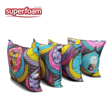 Superfoam Square Throw Pillows, 16 X 16 Inches, Set Of 4 Pieces